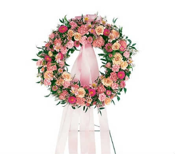 Pink Wreath in Warren MI, Downing's Flowers & Gifts Inc.