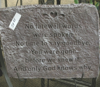 No Farwell Words Stepping stone in Mankato MN, Becky's Floral & Gift Shoppe