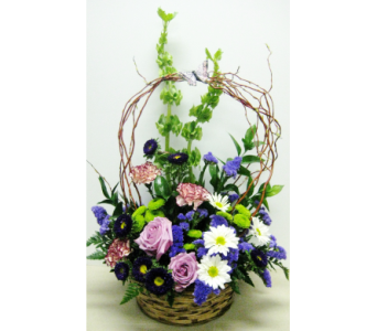 Willow Basket Arrangement-10 Inch Basket-One-Sided in Wyoming MI, Wyoming Stuyvesant Floral