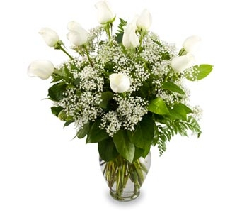 Pure Wishes Dozen White Rose Bouquet in Las Vegas NV, Tiger Lily Floral
