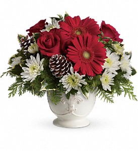 Teleflora's Simply Merry Centerpiece in East Providence RI, Carousel of Flowers & Gifts