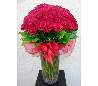 100 Premium Red Roses in a Vase in San Diego CA, The Floral Gallery