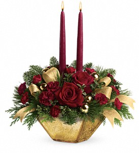 Teleflora's Crimson and Gold Centerpiece in Grass Lake MI, Designs By Judy