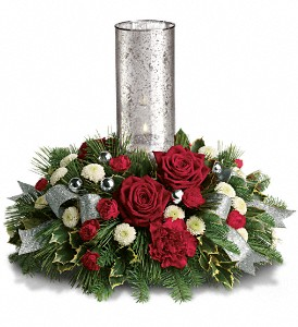 Teleflora's Snow-Kissed Roses Centerpiece in El Cajon CA, Jasmine Creek Florist
