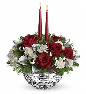 Teleflora's Sparkle of Christmas Centerpiece in El Cajon CA, Jasmine Creek Florist