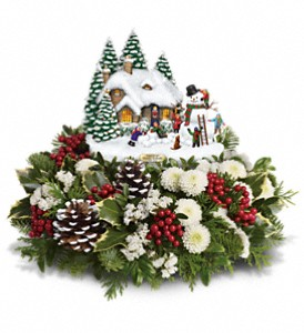Thomas Kinkade's Snowballs & Smiles Centerpiece in El Cajon CA, Jasmine Creek Florist