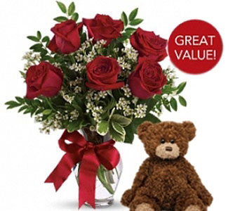 Buds and Blooms Half Dozen Roses with Plush Bear in Covington WA, Covington Buds & Blooms