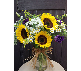 Sunflower �Mason� Jar in West Los Angeles CA, Westwood Flower Garden