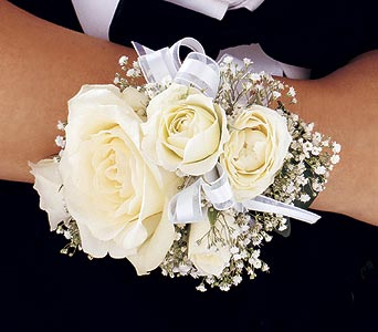 White Ice Roses Wristlet in Olean NY, Mandy's Flowers