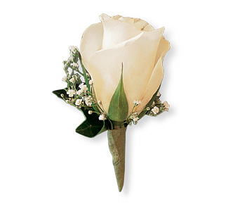 White Ice Rose Boutonniere in Orlando FL, Harry's Famous Flowers