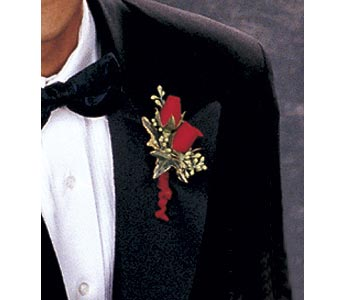 Red-Hot Roses Boutonniere in Asheville NC, The Extended Garden Florist
