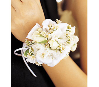 Mixed Whites Wristlet in Olean NY, Mandy's Flowers