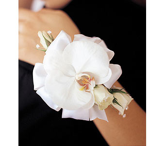 White Orchid and Roses Wristlet in Essex CT, The Essex Flower Shoppe & Greenhouse