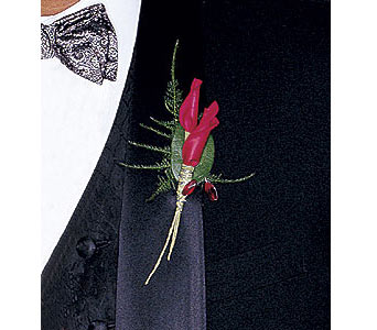 Red Rose Petals Boutonniere in Asheville NC, The Extended Garden Florist