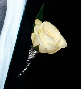 White Rose Boutonniere in Norwalk CT, Richard's Flowers, Inc.