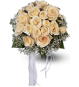 Hand-Tied White Roses Nosegay in Big Rapids, Cadillac, Reed City and Canadian Lakes MI, Patterson's Flowers, Inc.