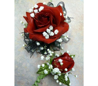 Open Red Rose and Matching Bout. in Warren MI, Downing's Flowers & Gifts Inc.