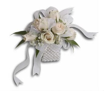 White Roses on a Pearl Wristlet in Warren MI, Downing's Flowers & Gifts Inc.