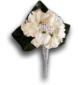 White Stock Boutonniere in Orlando FL, Harry's Famous Flowers