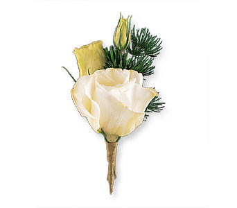 White Lisianthus Boutonniere in Norwalk CT, Richard's Flowers, Inc.