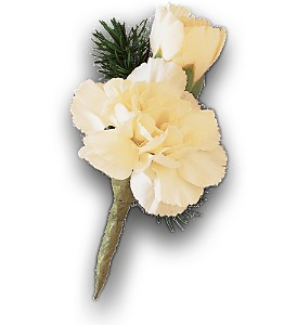 Miniature White Carnation Boutonniere in Augusta GA, Ladybug's Flowers & Gifts Inc