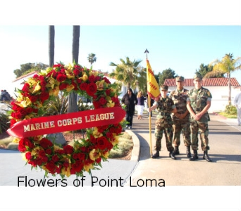 Marine Corps wreath in San Diego CA, Flowers Of Point Loma
