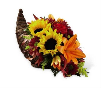 The FTD Fall Harvest Cornucopia  in Des Moines IA, Doherty's Flowers
