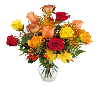 Mixed Colored Roses Arranged  in Canton PA, Stulls Flowers