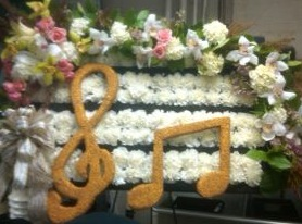 Music Note Specialty Funeral Piece in New Milford NJ, Denis Flowers