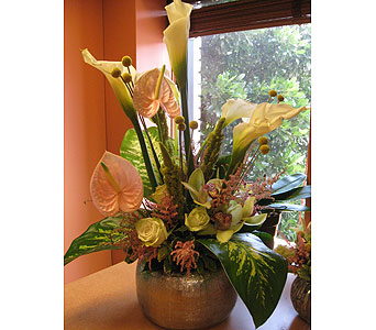 Antherium, Calla, & Protea Centerpiece in Somerset NJ, Flower Station