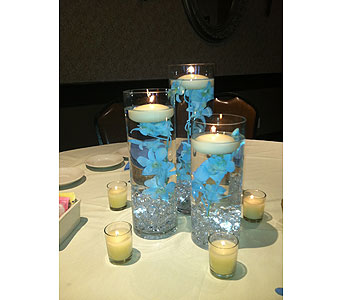 Blue Orchid Candles in Staten Island NY, Sam Gregorio's Florist