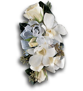 White Rose and Orchid Corsage in Riverside NJ, Riverside Floral Co.
