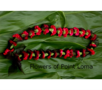 Red and black lei in San Diego CA, Flowers Of Point Loma