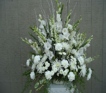 Classic White Sympathy Arrangement in Saratoga Springs NY, Dehn's Flowers & Greenhouses, Inc