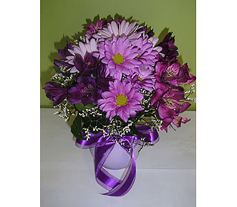Purple & Lavender Surprise in Raleigh NC, Gingerbread House Florist - Raleigh NC