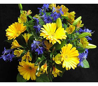 Yellow & Blue Cut Flowers In A Vase in Etobicoke ON, VANDERFLEET Flowers