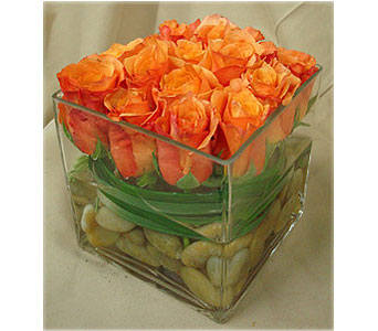 Fall roses cubed in Bellevue WA, CITY FLOWERS, INC.