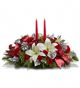 Lights Of Christmas Centerpiece in Largo FL, Rose Garden Flowers & Gifts, Inc