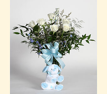 Baby Boy Vase Arrangement in Southampton PA, Domenic Graziano Flowers