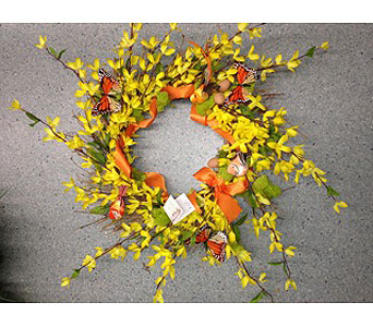 Yellow Forsythia Blooms Wreath in Oakland CA, J. Miller Flowers and Gifts