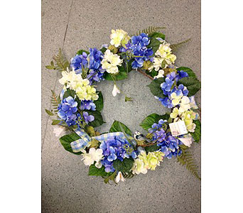 Hydrangeas en masse WReath in Oakland CA, J. Miller Flowers and Gifts