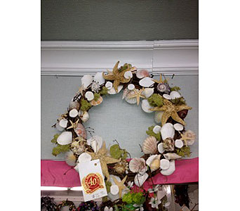 Ocean BEach Shell Wreath in Oakland CA, J. Miller Flowers and Gifts