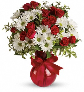 Red White And You Bouquet by Teleflora in Durham NC, Floral Dimensions