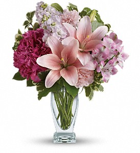 Teleflora's Blush Of Love Bouquet in Cocoa FL, A Basket Of Love Florist