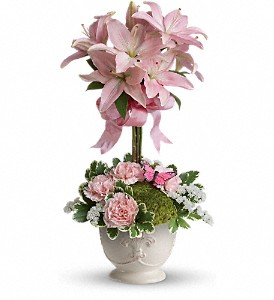Teleflora's Blushing Lilies in Chisholm MN, Mary's Lake Street Floral