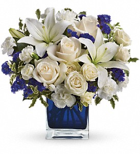 Teleflora's Sapphire Skies Bouquet in Redwood City CA, A Bed of Flowers
