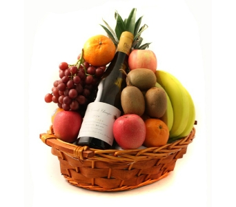 Fruit & Wine Basket in Columbus OH, OSUFLOWERS .COM