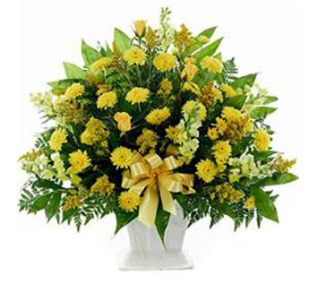 Funeral Mache in Yellow in Raleigh NC, Fallon's Flowers