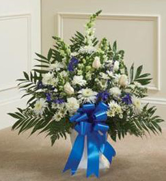 Funeral Mache in Blue and White in Raleigh NC, Fallon's Flowers