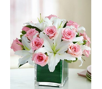 Modern Embrace� Pink Rose & Lily Cube in Arlington VA, Twin Towers Florist